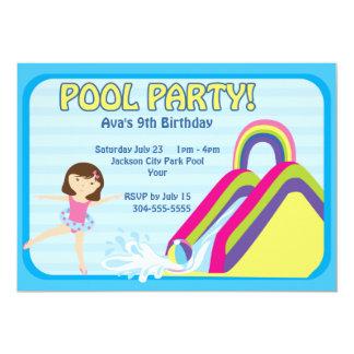 Aniversário customizável da festa na piscina convite 12.7 x 17.78cm