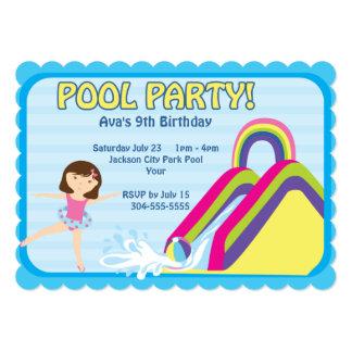 Aniversário customizável da festa na piscina convite personalizado