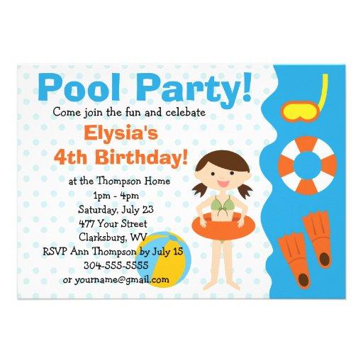 Aniversário customizável da festa na piscina da me convite