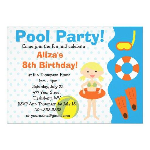 Aniversário customizável da festa na piscina da me convite personalizado