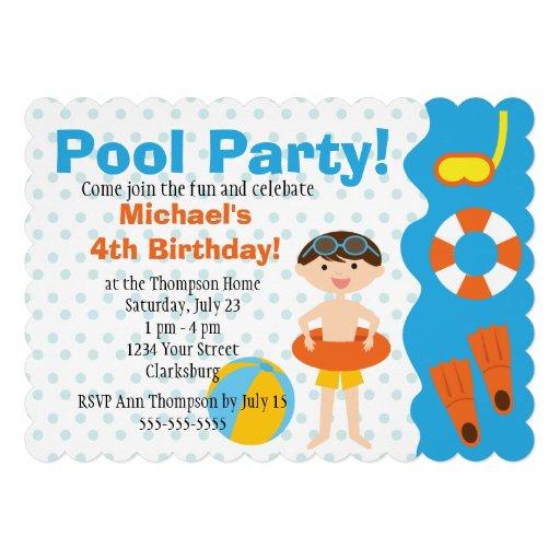Aniversário customizável da festa na piscina do me convite personalizado