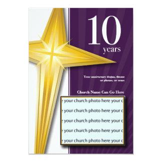 Aniversário customizável da igreja de 10 anos convite 12.7 x 17.78cm
