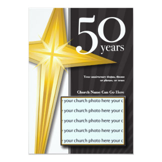 Aniversário customizável da igreja de 50 anos convite personalizados