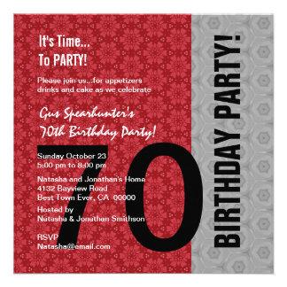 aniversário D848 engraçado preto de prata vermelho Convites