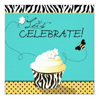 Aniversário da abelha & do cupcake do aniversário convite personalizados