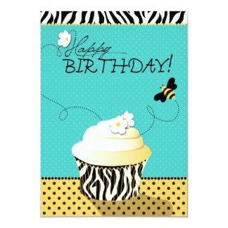 Aniversário da abelha & do cupcake do aniversário convite 12.7 x 17.78cm