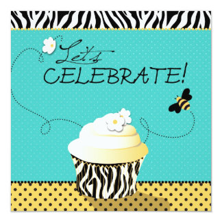 Aniversário da abelha & do cupcake do aniversário convite quadrado 13.35 x 13.35cm