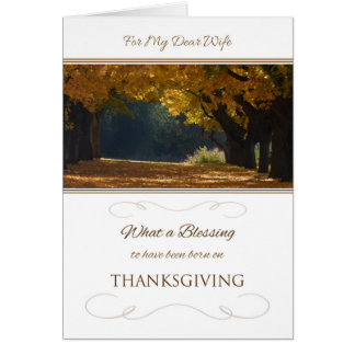 Aniversário da acção de graças para a esposa cartão comemorativo