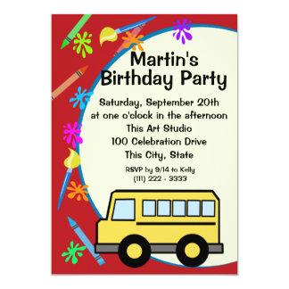 Aniversário da arte do auto escolar convites personalizado