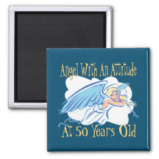 Aniversário da atitude do anjo 50th ímã quadrado