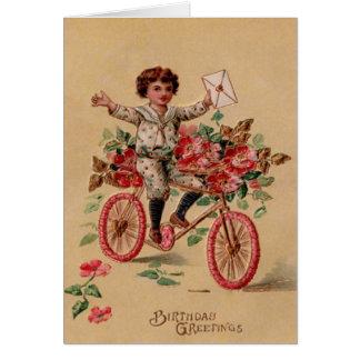 Aniversário da bicicleta da flor do rosa do cartão comemorativo