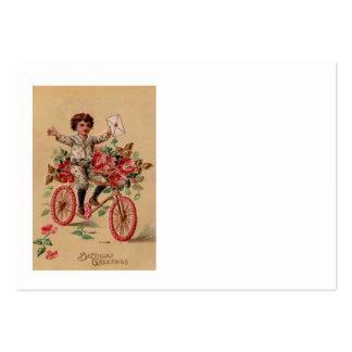 Aniversário da bicicleta da flor do rosa do cartão de visita grande