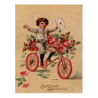 Aniversário da bicicleta da flor do rosa do correi cartões postais