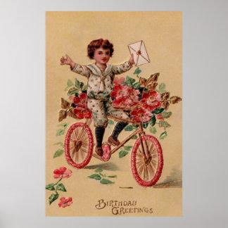 Aniversário da bicicleta da flor do rosa do correi