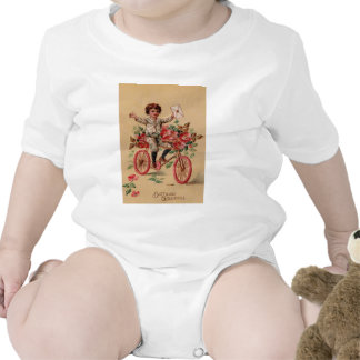 Aniversário da bicicleta da flor do rosa do macacões