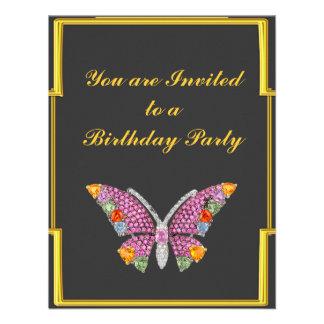 Aniversário da borboleta do carvão vegetal do art convite personalizado
