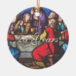 Aniversário da classificação do padre ornamento de cerâmica redondo