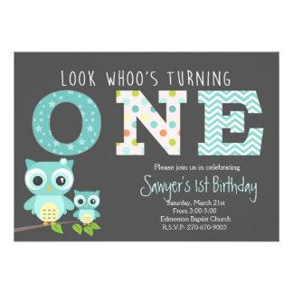 aniversário da coruja do menino primeiro - o olhar convite 12.27 x 17.78cm