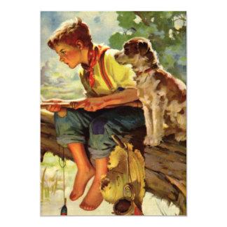 Aniversário da criança da pesca do menino e do cão convite 12.7 x 17.78cm