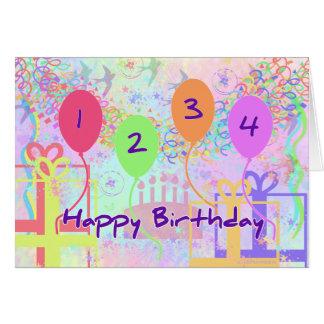 Aniversário da criança ou do miúdo quatro anos de  cartao