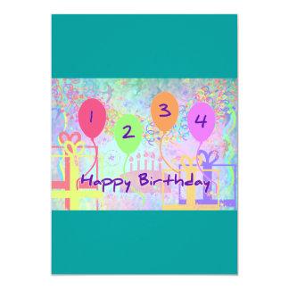 Aniversário da criança ou do miúdo quatro anos de convites