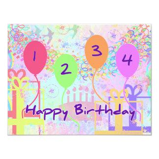 Aniversário da criança ou do miúdo quatro anos de convites personalizado