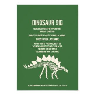 Aniversário da escavação do dinossauro convite 12.7 x 17.78cm