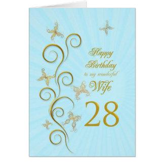 Aniversário da esposa 28o com borboletas douradas cartão