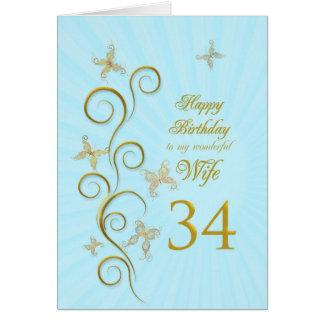 Aniversário da esposa 34o com borboletas douradas cartão comemorativo