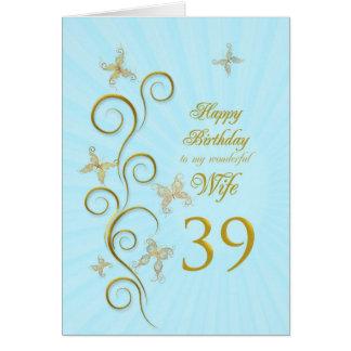 Aniversário da esposa 39th com borboletas douradas cartões