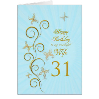 Aniversário da esposa 3ø com borboletas douradas cartao