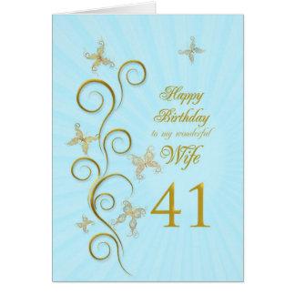 Aniversário da esposa 41st com borboletas douradas cartão comemorativo