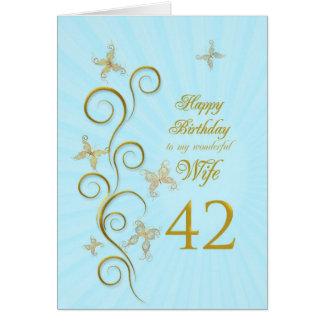 Aniversário da esposa 42nd com borboletas douradas cartão comemorativo