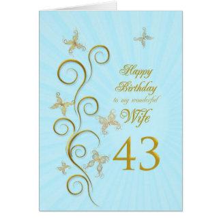 Aniversário da esposa 43rd com borboletas douradas cartao