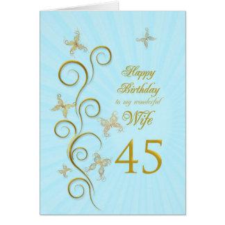 Aniversário da esposa 45th com borboletas douradas cartão comemorativo