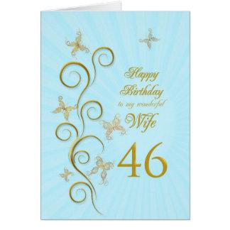 Aniversário da esposa 46th com borboletas douradas cartao