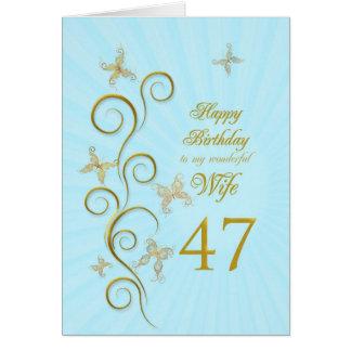 Aniversário da esposa 47th com borboletas douradas cartão