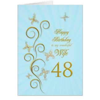 Aniversário da esposa 48th com borboletas douradas cartao