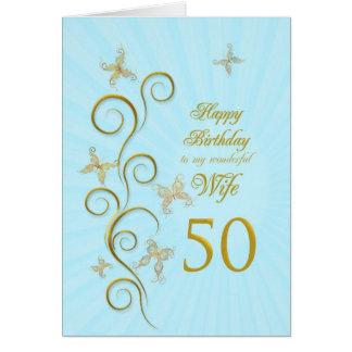 Aniversário da esposa 50th com borboletas douradas cartão comemorativo