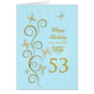 Aniversário da esposa 53rd com borboletas douradas cartão comemorativo