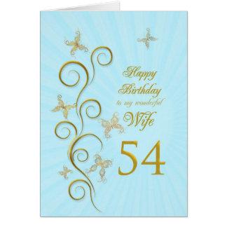 Aniversário da esposa 54th com borboletas douradas cartoes