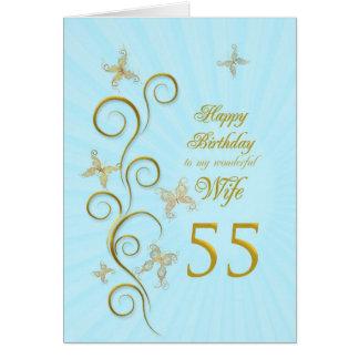Aniversário da esposa 55th com borboletas douradas cartao