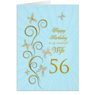 Aniversário da esposa 56th com borboletas douradas cartoes