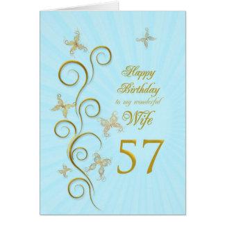 Aniversário da esposa 57th com borboletas douradas cartão