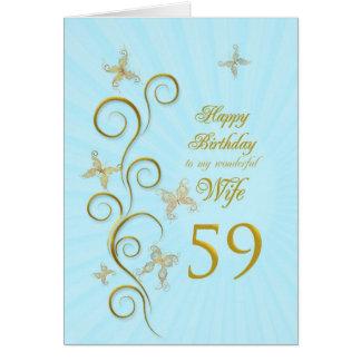 Aniversário da esposa 59th com borboletas douradas cartão