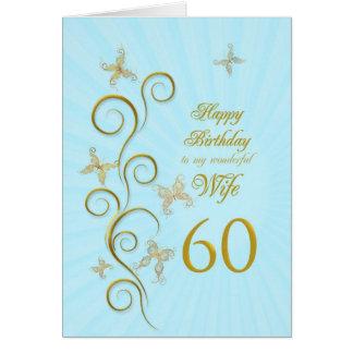 Aniversário da esposa 60th com borboletas douradas cartão comemorativo