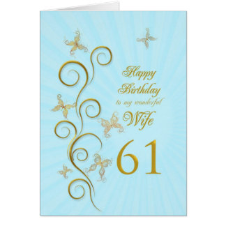 Aniversário da esposa 61st com borboletas douradas cartoes