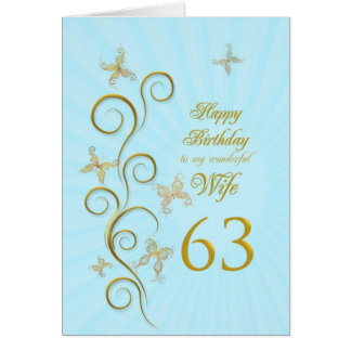Aniversário da esposa 63rd com borboletas douradas cartão