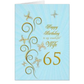 Aniversário da esposa 65th com borboletas douradas cartoes