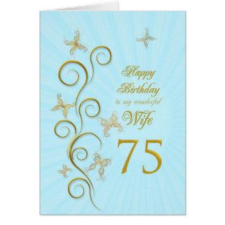 Aniversário da esposa 75th com borboletas douradas cartão